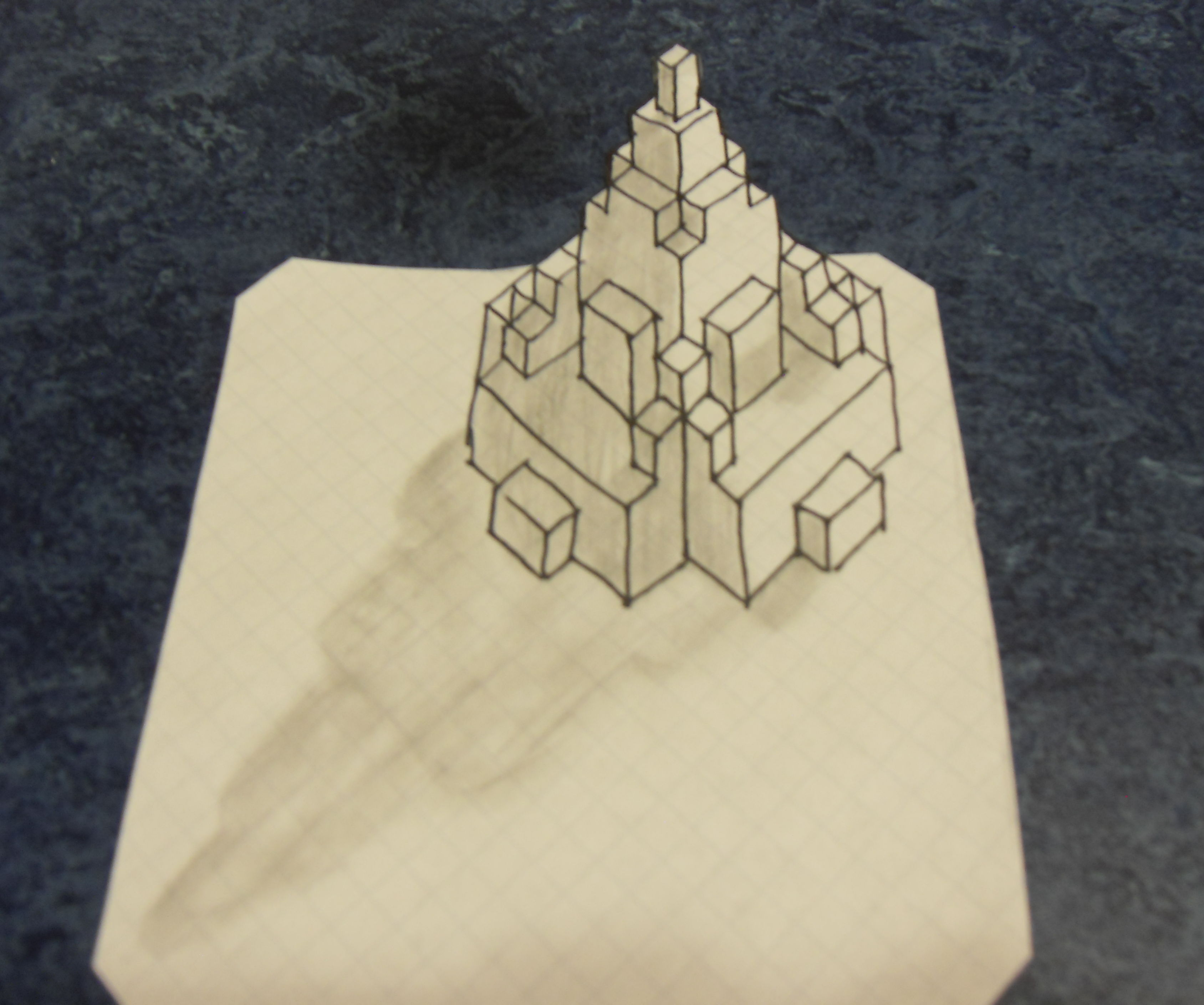 3D Buildings on grid paper!