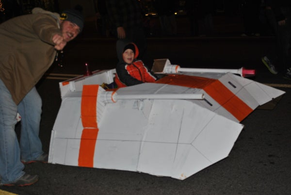 Card Board Snow Speeder for Power Wheels for Christmas Parade.