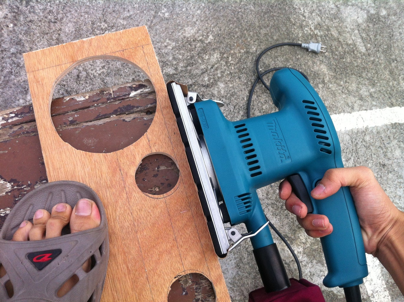 Sanding the Previously Cut Wood