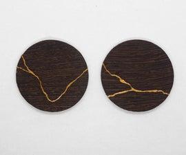 Kintsugi Wooden Earrings / Japanese Art