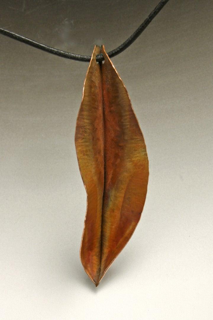 Hammered Copper Leaf Pendant