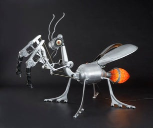 Giant Kinetic Praying Mantis Sculpture From Found Materials