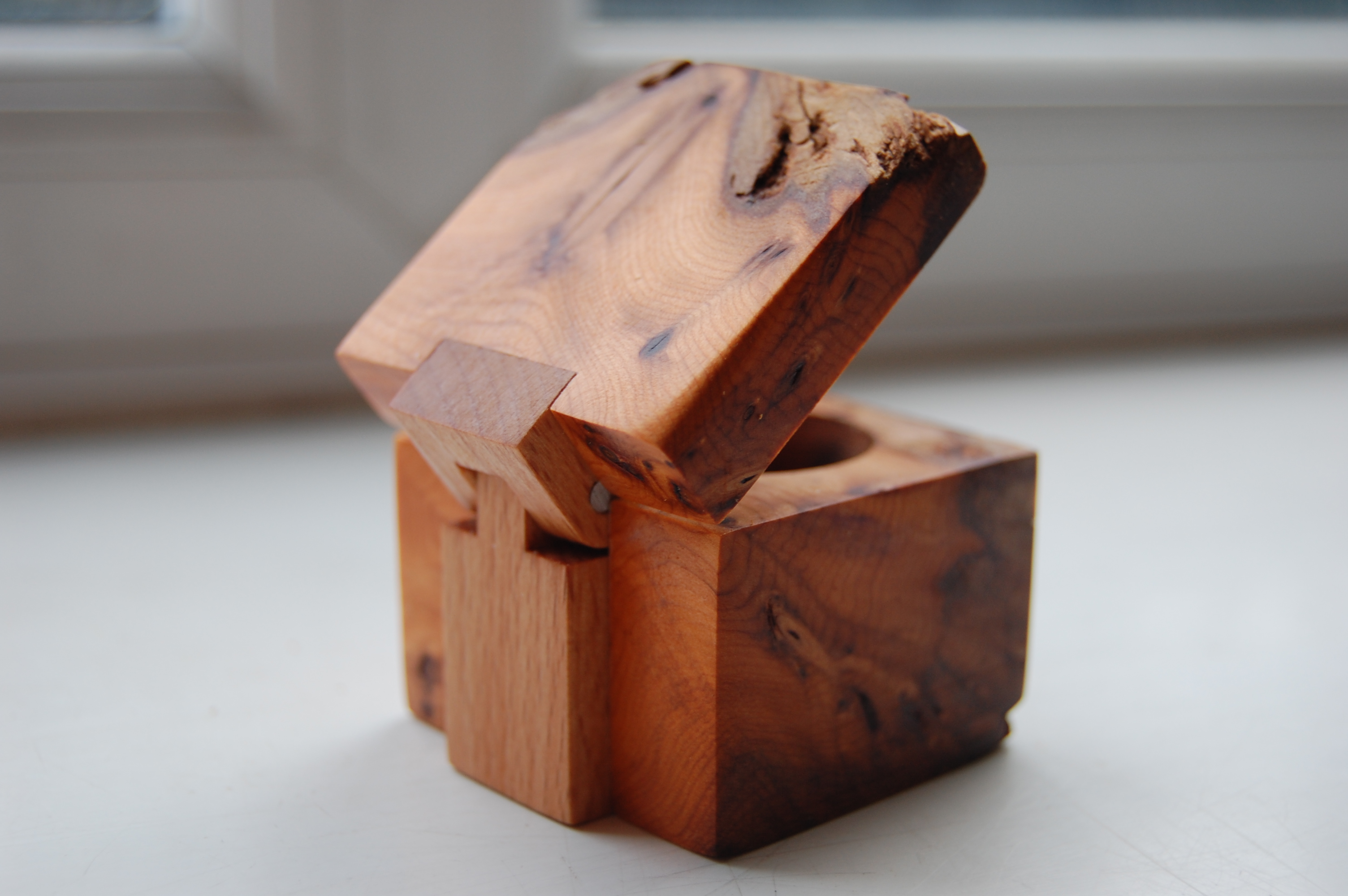 Ring box with wooden hinge