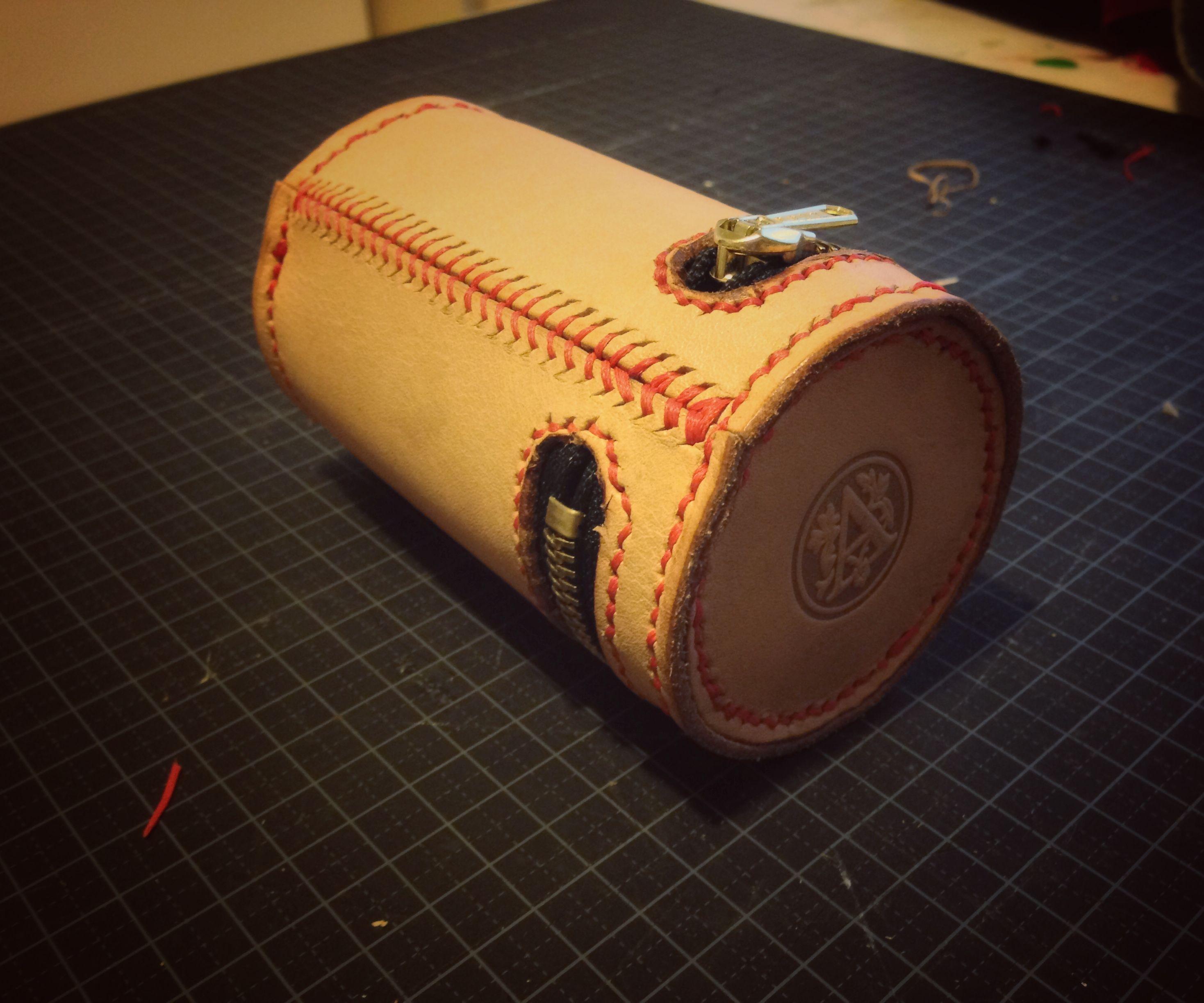 Cylinder Shaped Leather Bag
