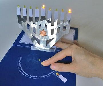 Pop-up, Light-up, Flat-pack Menorah Card