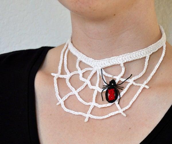 Crochet Spider Web Necklace