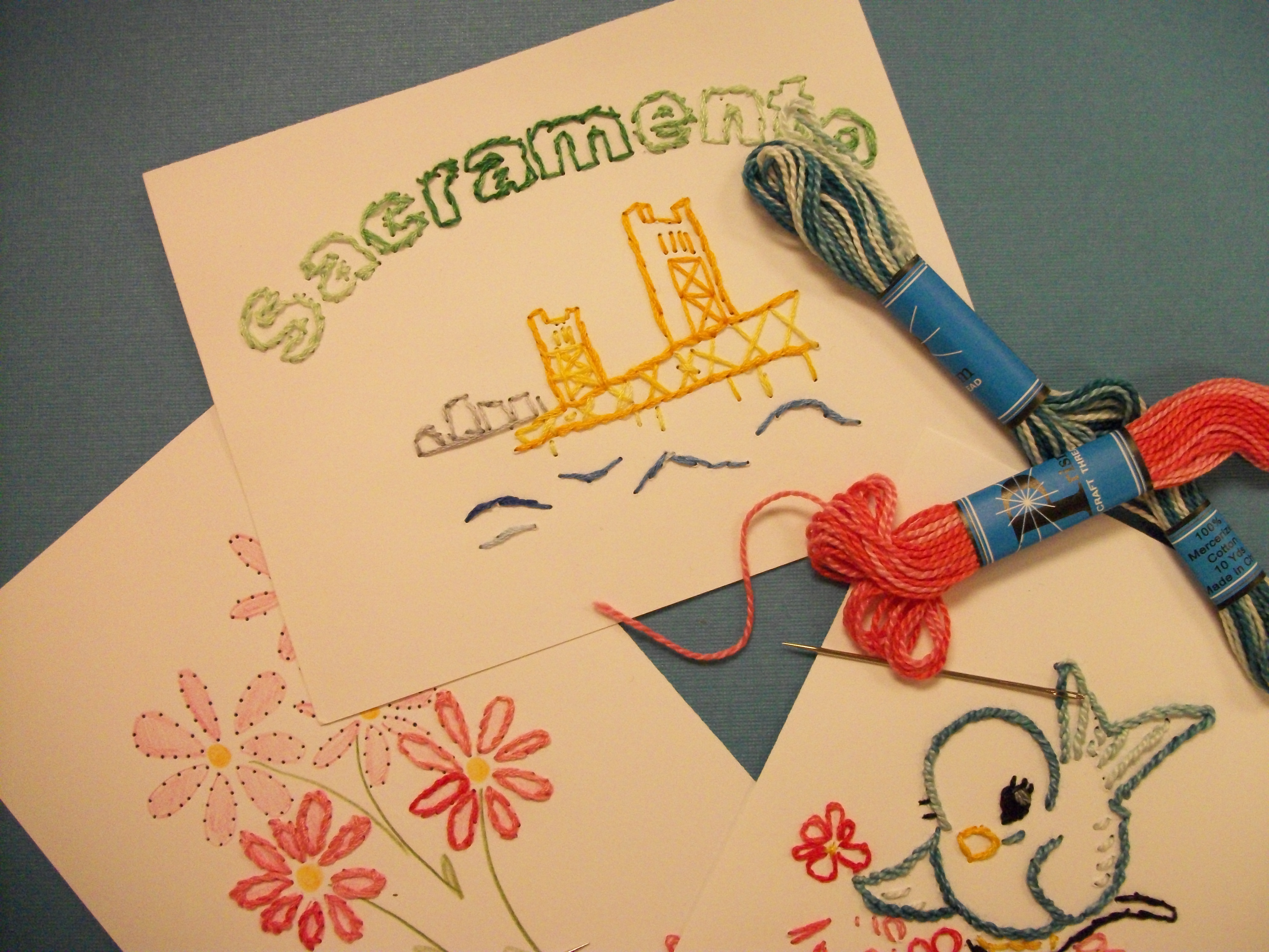 Embroidered Postcards