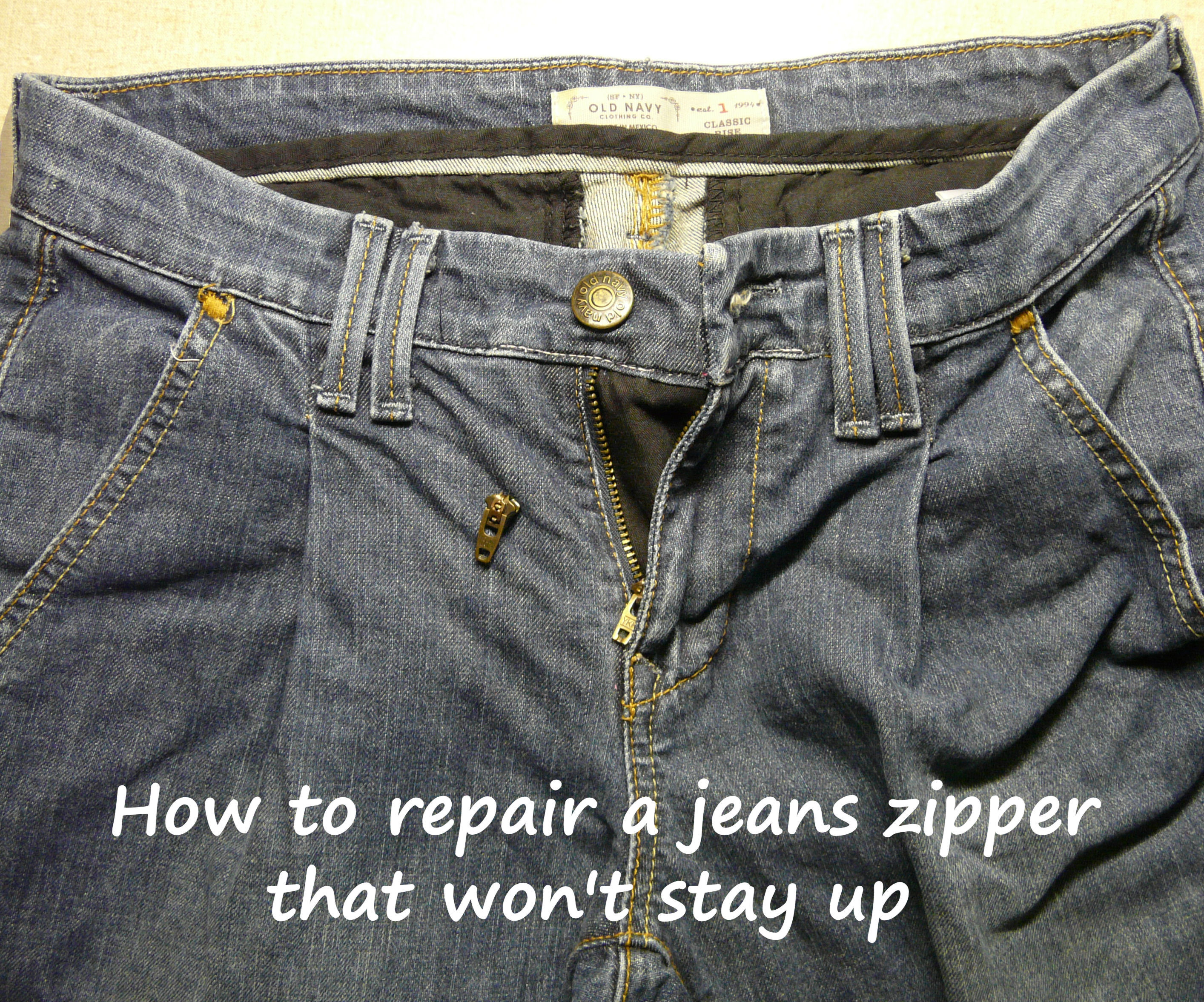 How to repair a jeans zipper that won't stay up