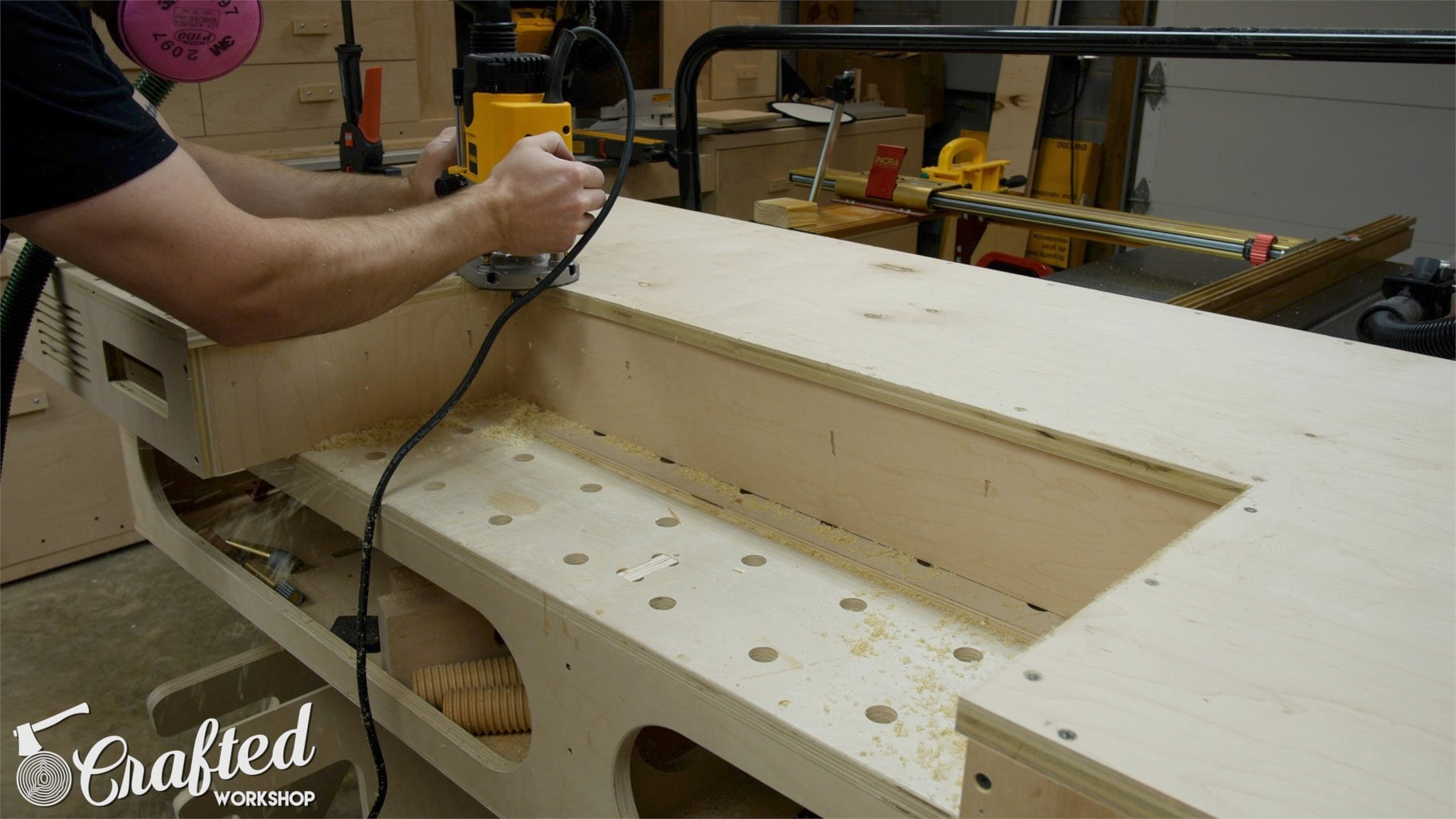 Cut Away Excess Plywood From Desk PC Midsection