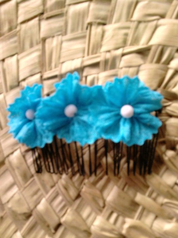 Blue Flowers Hair Comb