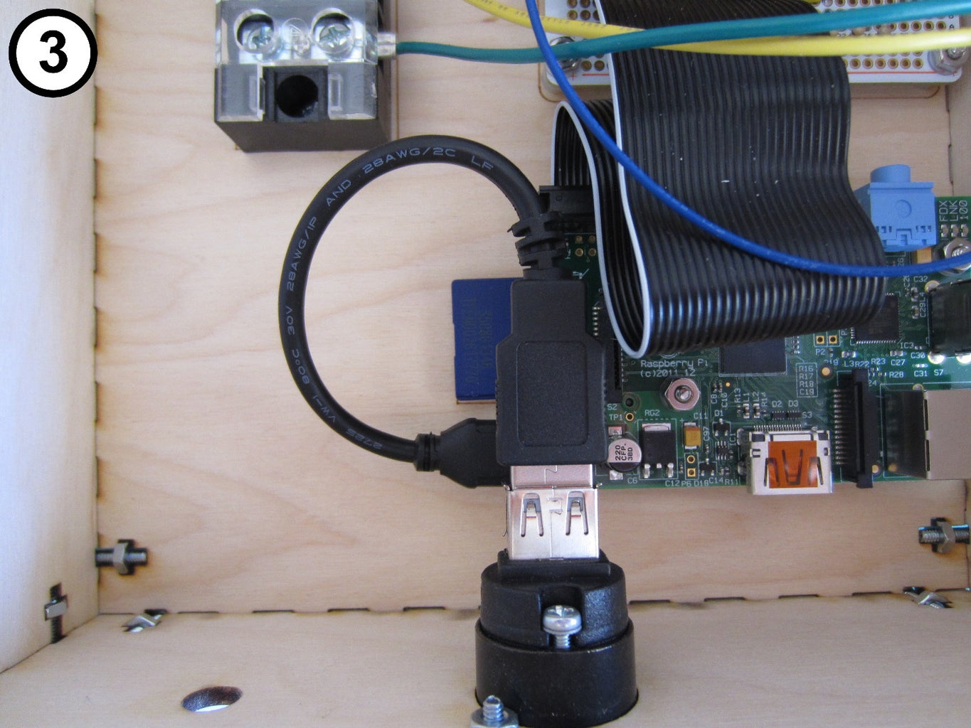 Connect the Raspberry Pi to the USB Power Port