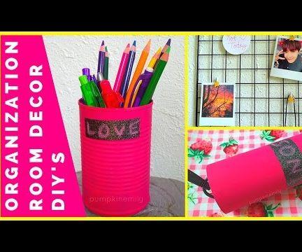 DIY Tumblr Inspired Organization Room Decor | Pencil Holder, Wall Grid, Painted Jar, and Cord Holder