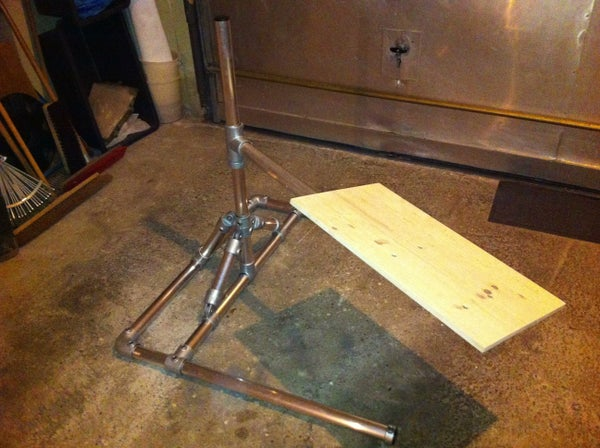 Man's World Laptop Stand Made of Scaffolding Elements
