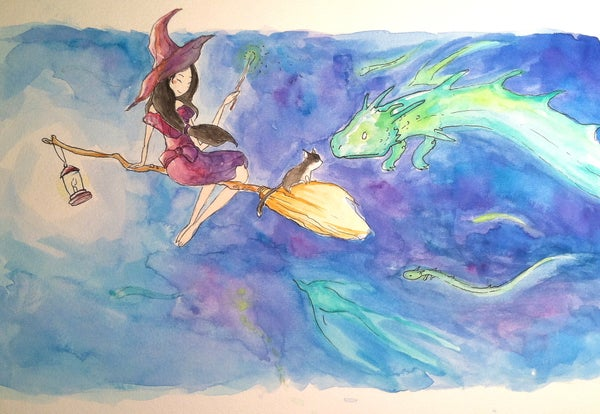 Illustrating a Witch and Her Cat With Watercolors