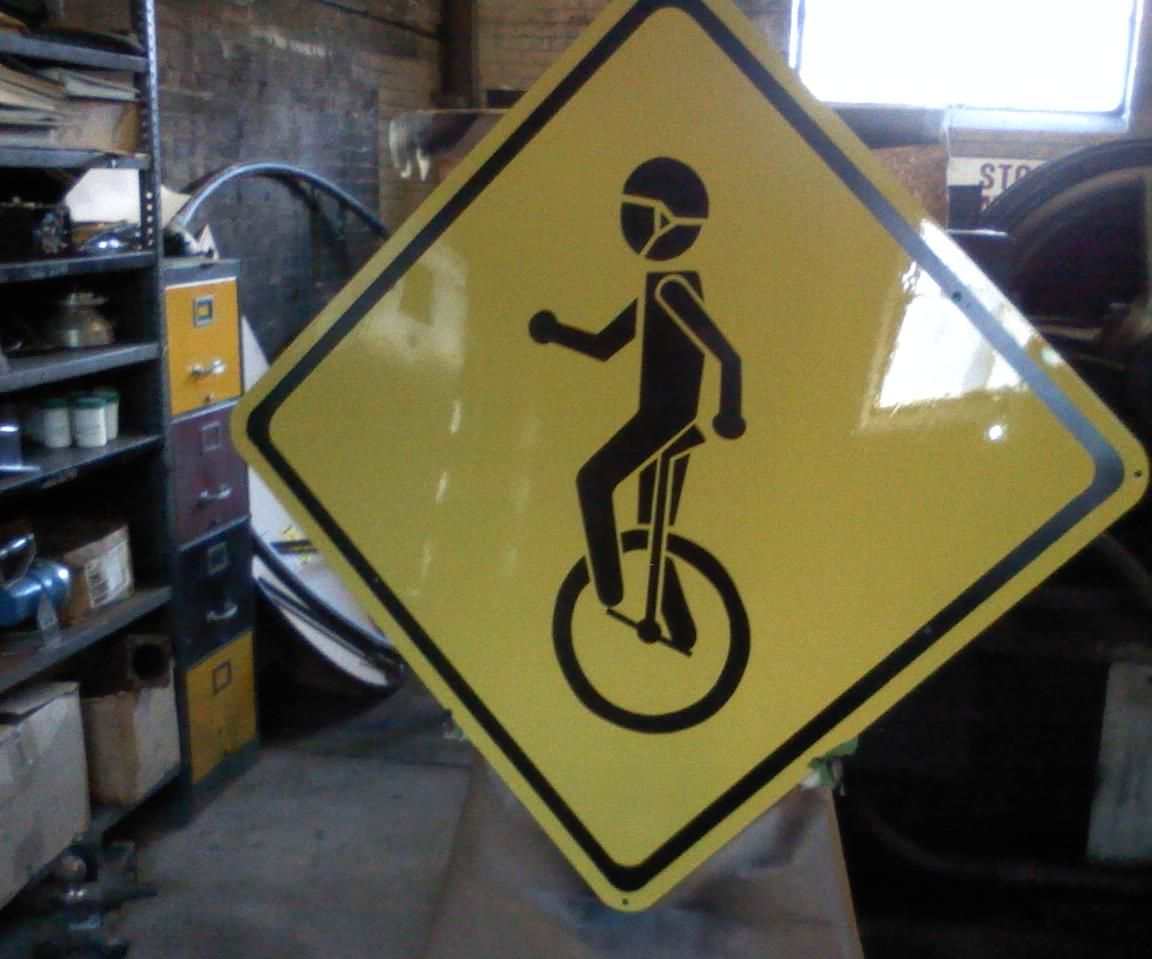 Unicycle Crossing Sign