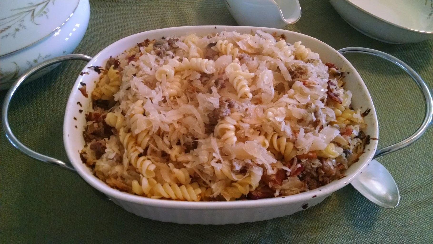Bacon, Sauerkraut, and Pasta Bake