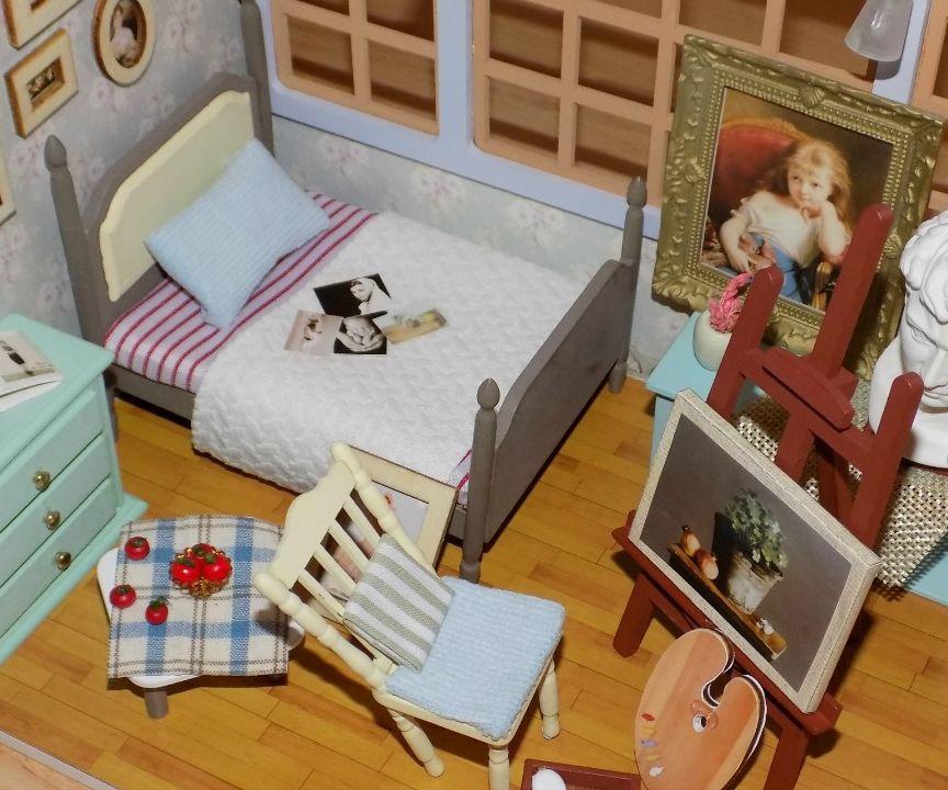 diy miniature dollhouse bedroom - art gallery theme