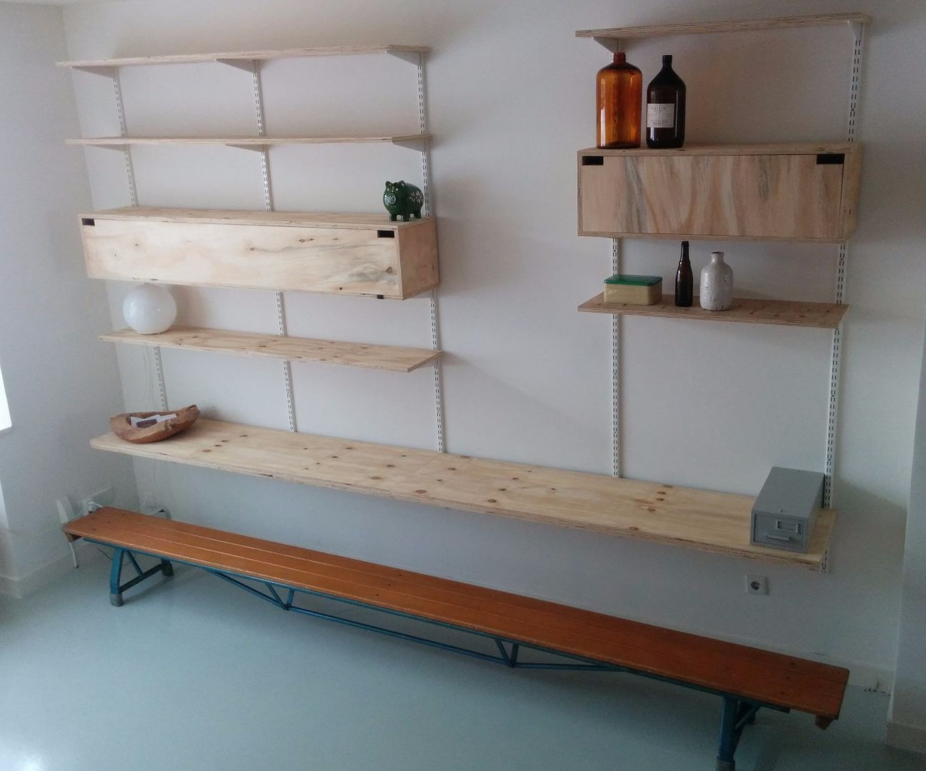 Mid Century Style Wall System Made Out of Plywood