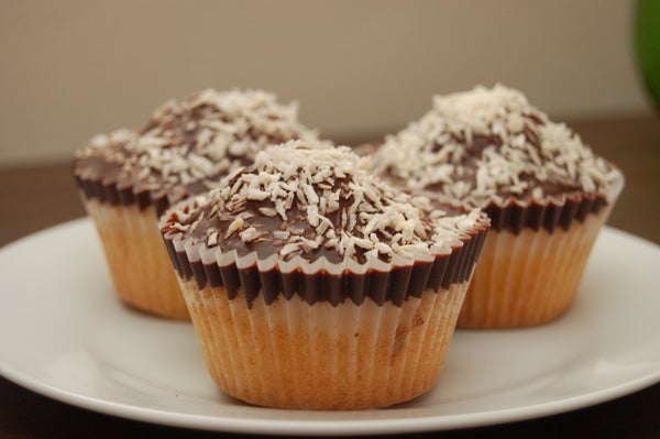 Dark Chocolate Topped Coconut Cupcakes