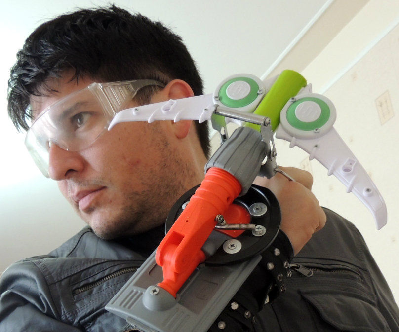 Superheroic Wrist Gun (made of plastic trash and an old leather boot)