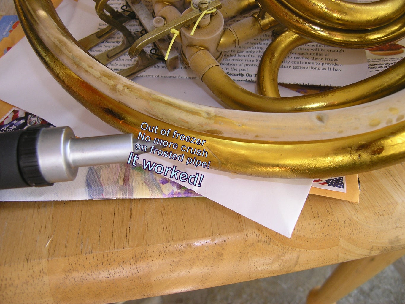 Brass Horn Repair With Ice