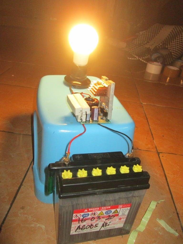 12V Mini Joule Thief Inverter - Power 220V AC LED Bulb With 12V Battery