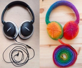 针织彩虹耳机