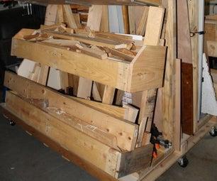 Flexible Mobile Lumber Storage Rack Using Pallets