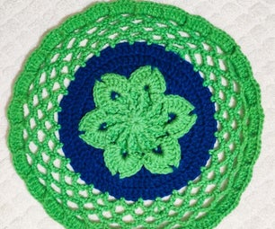 Round Crochet Flower Floor Rug
