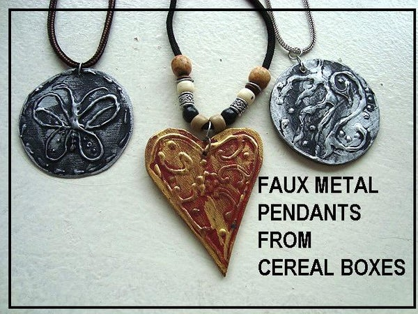 FAUX METAL PENDANTS, From Cereal Box Cardboard