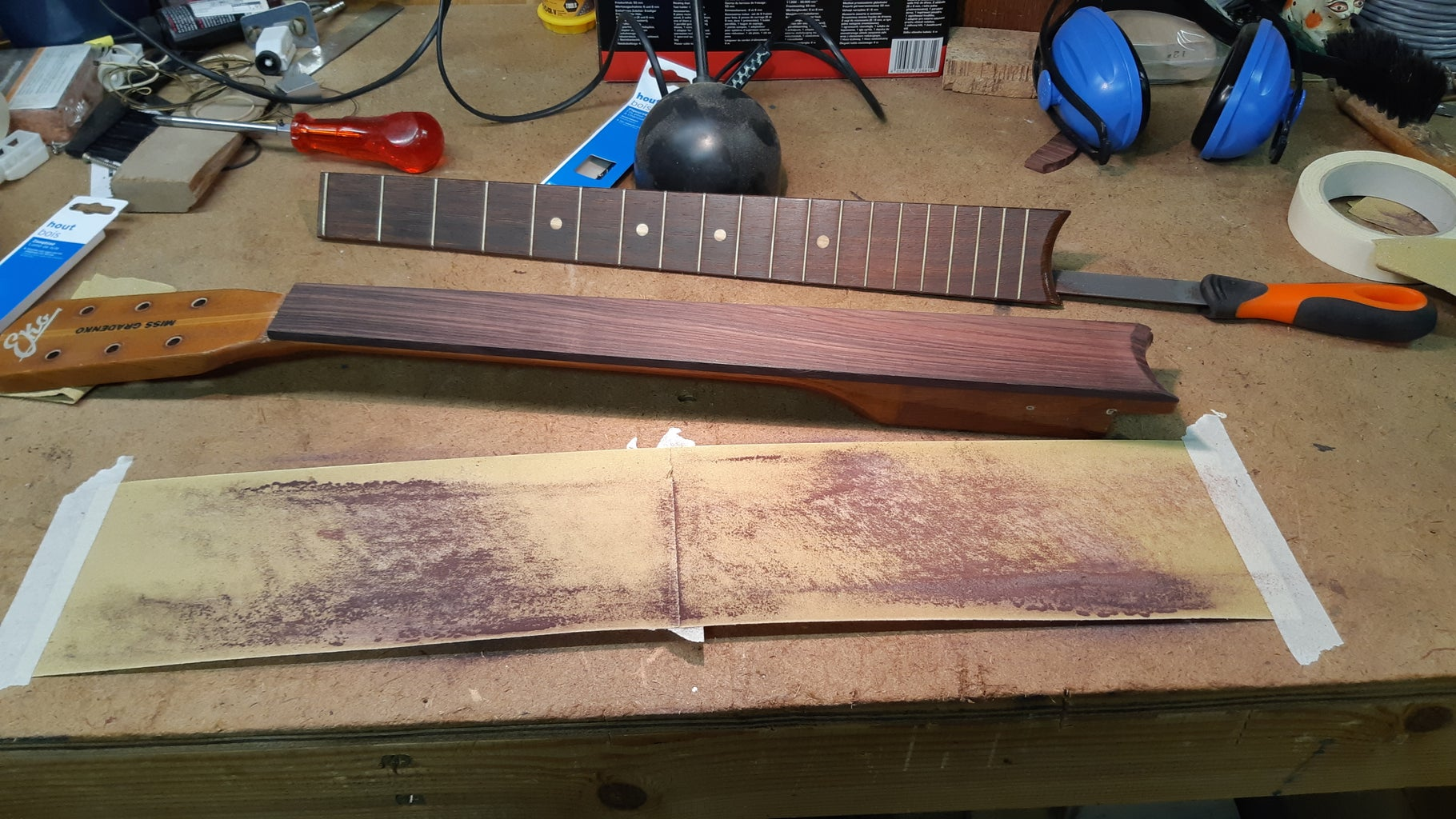 Installing a New Fret Board First Time But Wrong :-(