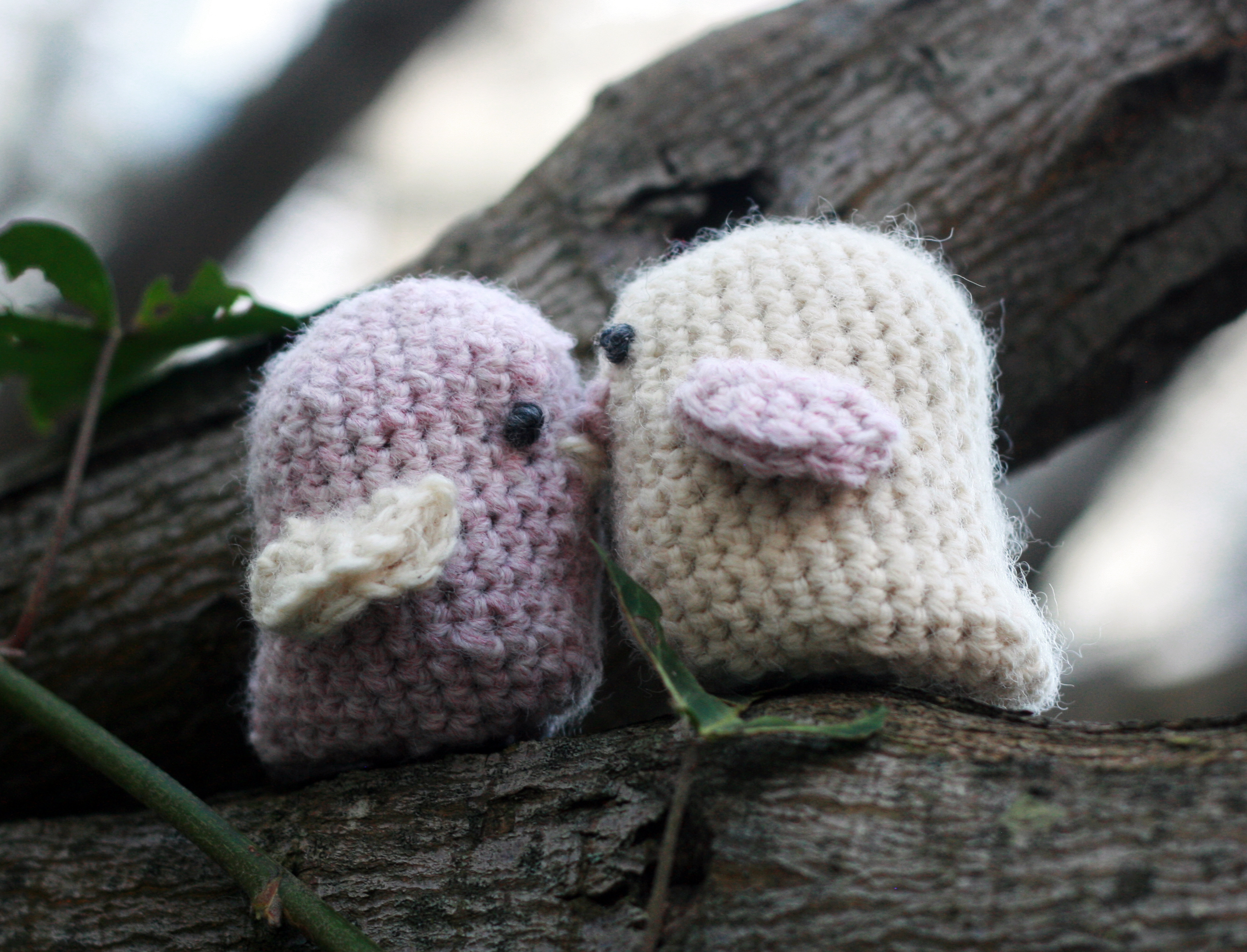 Crocheted Love Birds