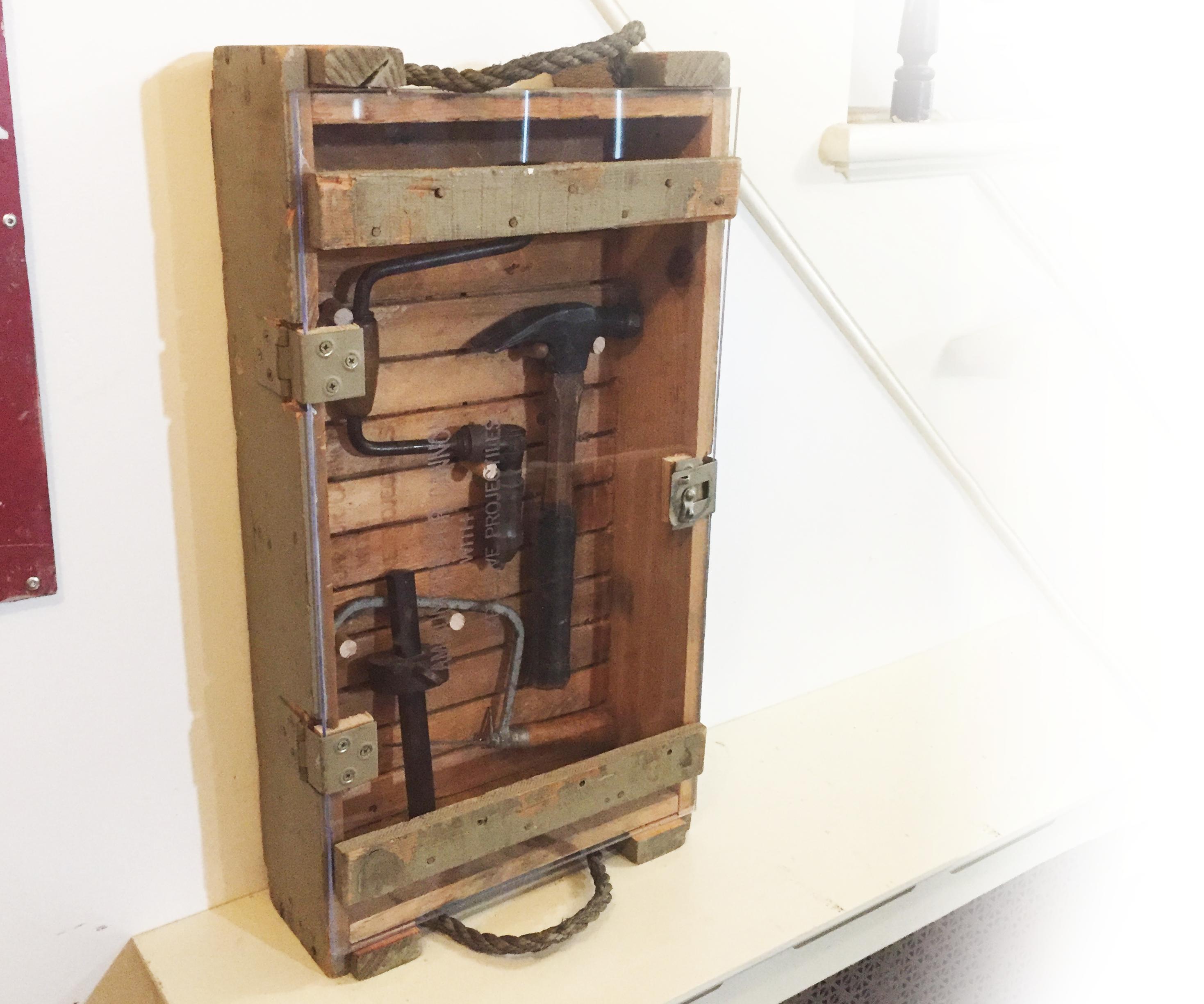 Vintage Ammo Crate Display Case With Custom Sliding Slat Hangers