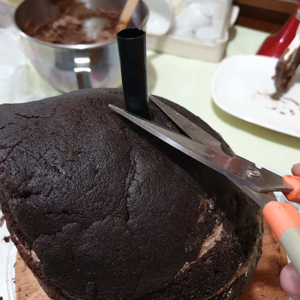 Covering the Cake With Whipped Ganache