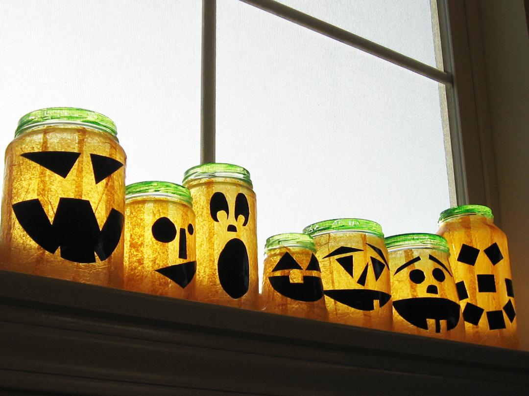Recycled Jar Jack O'Lanterns!