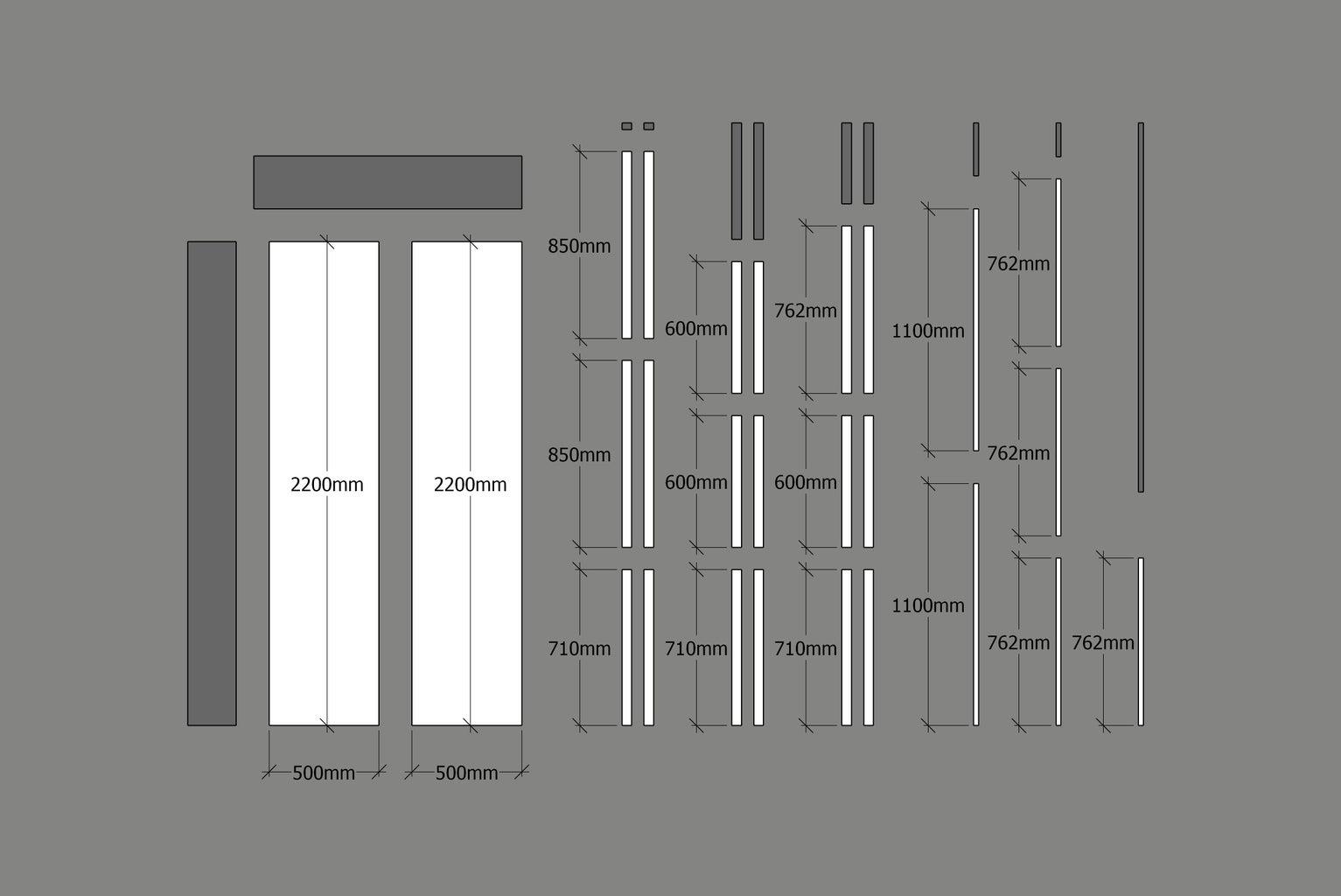Expandable Table Frame Cut List