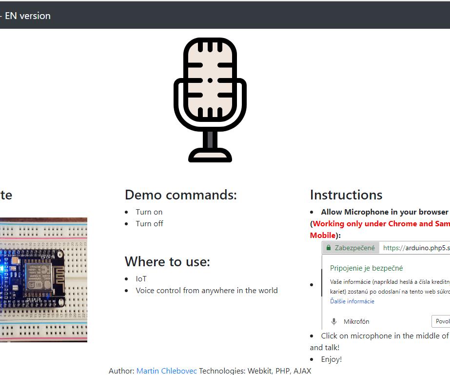 Voice Control - Arduino + Ethernet Shield (module) Wiznet