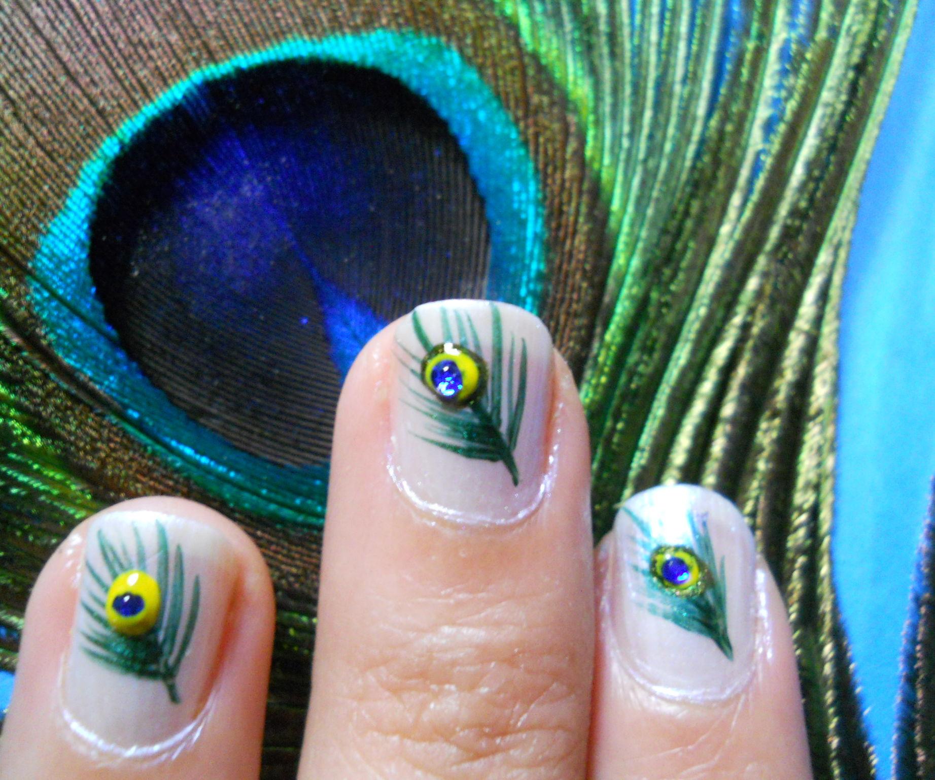 peacock feather nailart