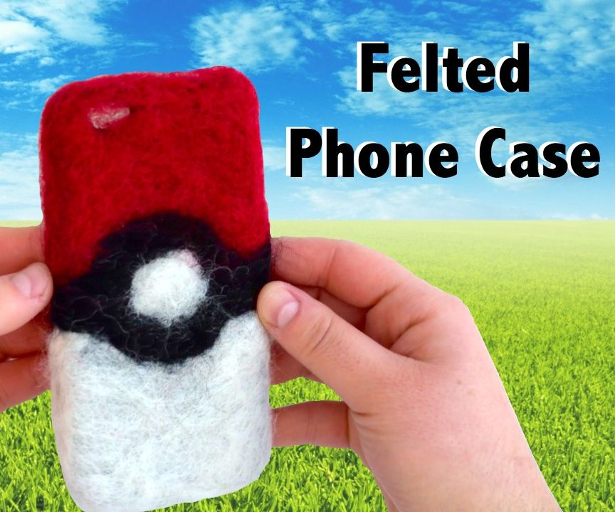 DIY Felted Pokeball Phone Case