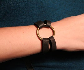 Leather Bracelet – Brass Ring and Hitch