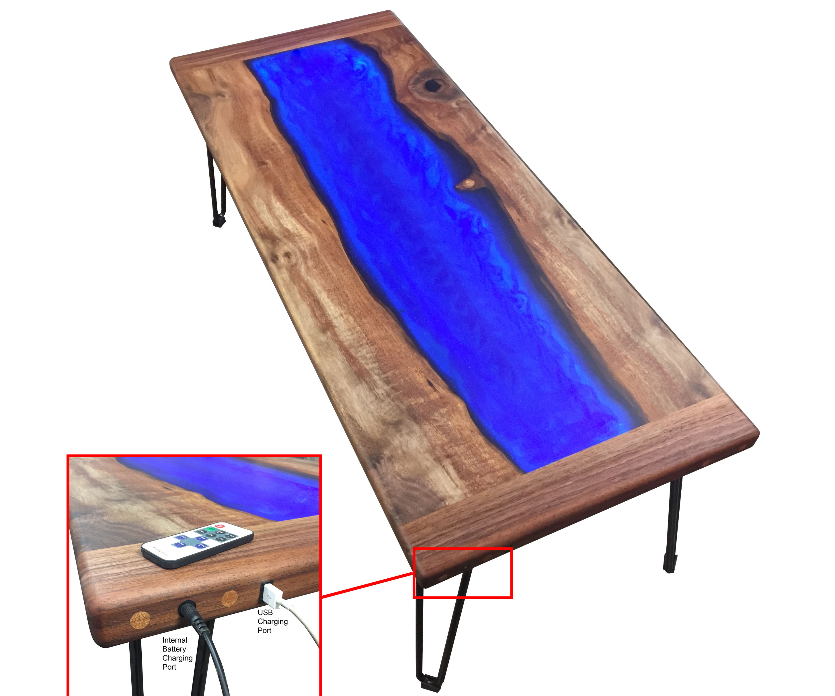 Walnut,and LED Lit Resin River Coffee Table With Rechargeable Battery Bank for Charging Your Phone!