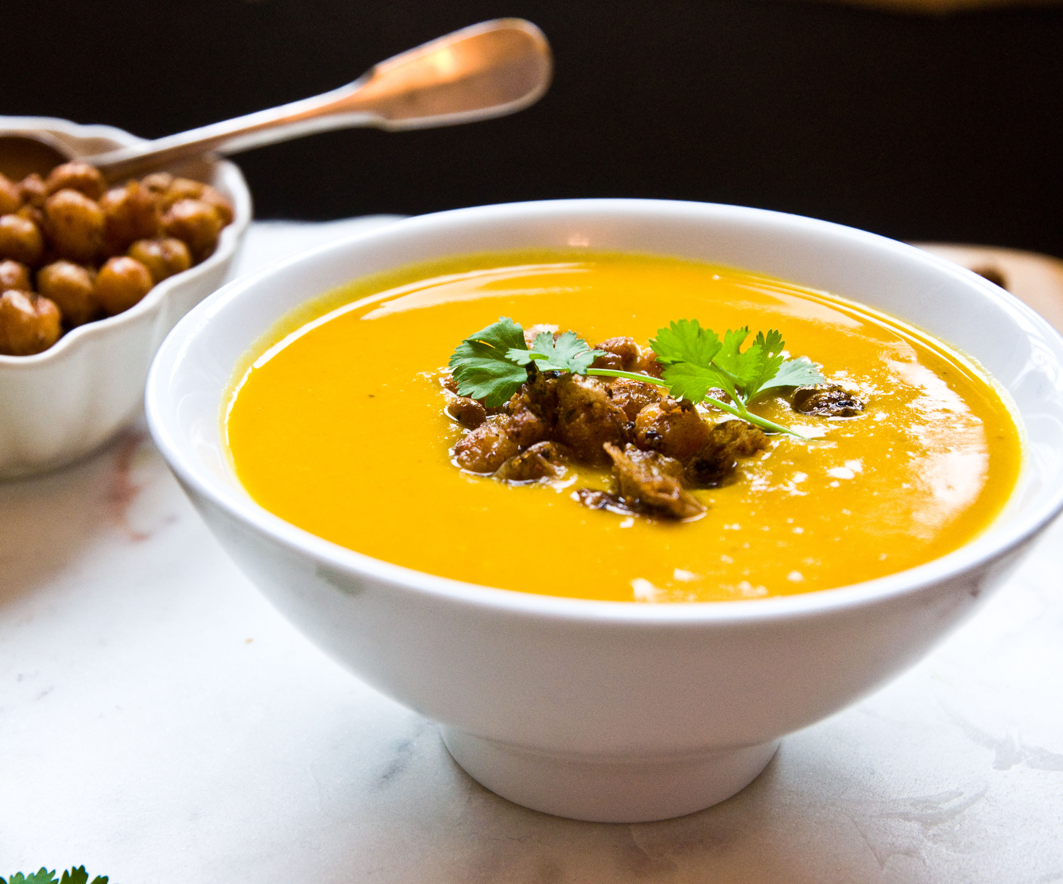Sweet Potato, Turmeric & Coconut Soup with Chickpea Croutons