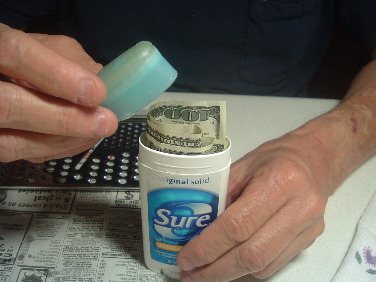 Hide things in your old Deoderant container!