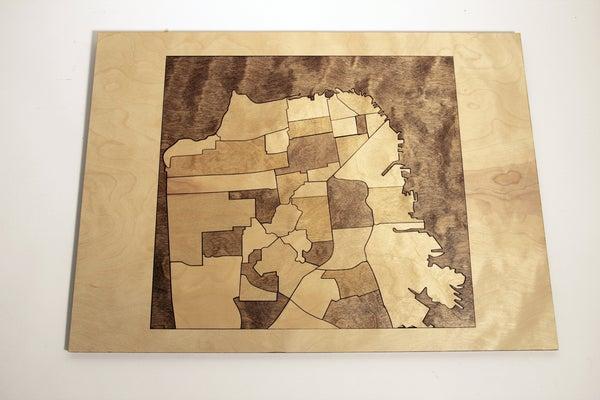 San Francisco Neighborhood Wood Wall Map
