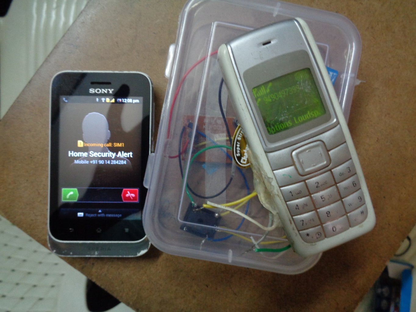 Security System With Old R/c Car and Cellphone