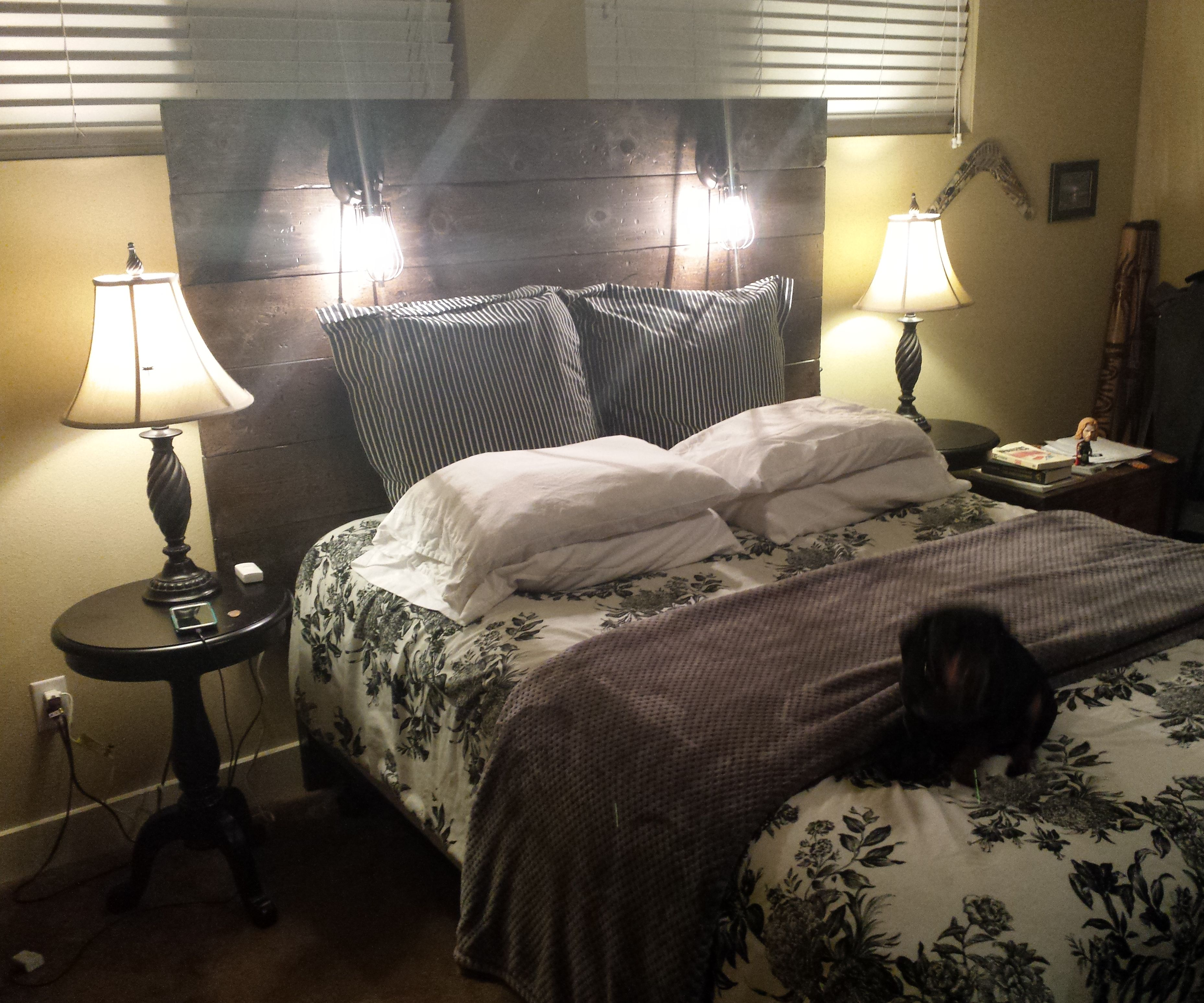 Rustic Headboard With His and Her Lights