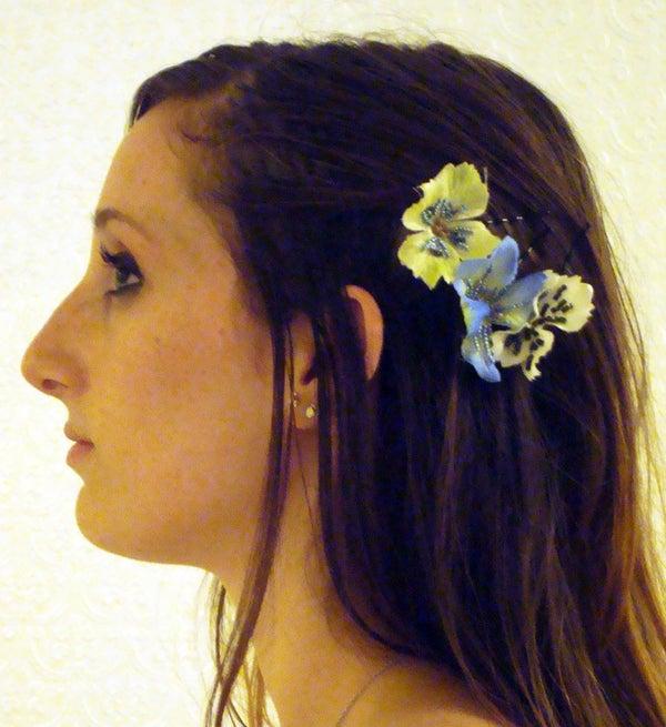 Beaded Flower Hair Clip