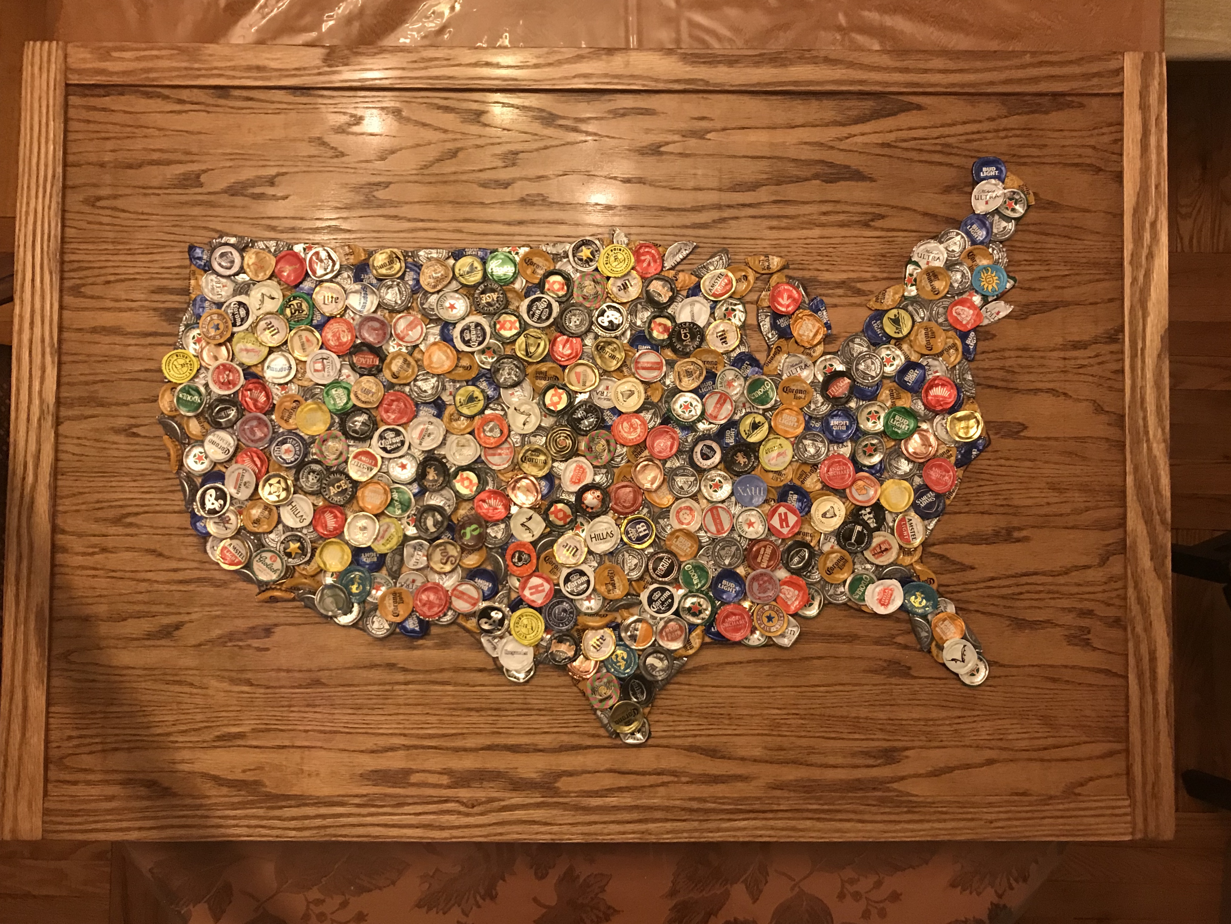US Map Made of Beer Tops