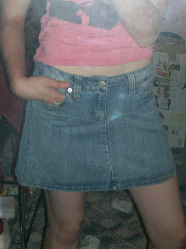 Turned Ruined Jeans Into an A-line Skirt!
