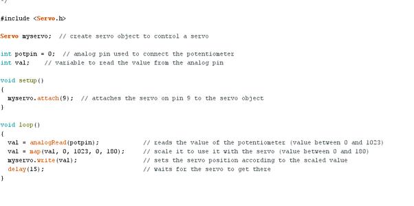 Example Program for Potentiometer Control
